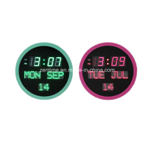 Electronic Round LED Digital Decorative Calendar Clock pictures & photos
