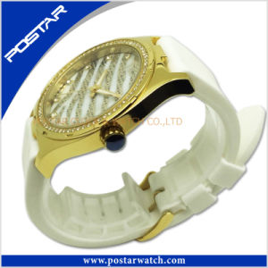 Good Design Japan Movt Quartz Ladies Watch Diamond Watch with Silicone Band pictures & photos