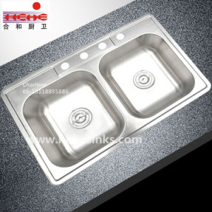 Top Mount Double Bowl Stainless Steel Kitchen Sink (8354B) pictures & photos