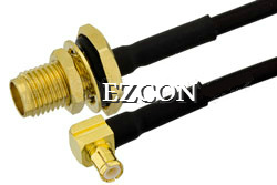 SMA Female Bulkhead to MCX Male Right Angle RF Coaxial Test Cable Assembly pictures & photos