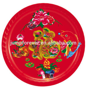 2015 Good Design and Beautiful Round Red Plastic Bowl for Happy New Year