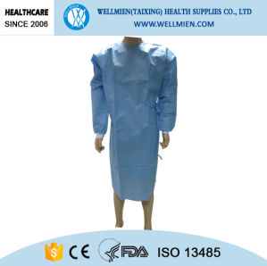 Disposable Ultrasonic Bounding Reinforced Surgical Gown with Knitted Cuff pictures & photos