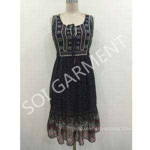 Ladies Sleeveless Chiffon Print Bead Dress with Belt (DR-29)