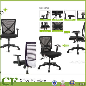 BIFMA Certificated Middle Back Office Swivel Mesh Chair with Armrest pictures & photos