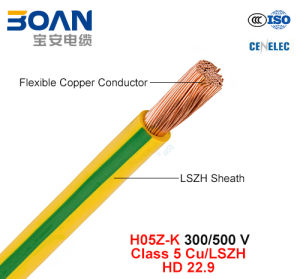 H05z-K, Electric Wire, 300/500 V, Cu/Lszh, Low Smoke Halogen Free Cable (HD 22.9) pictures & photos
