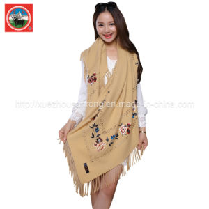 100% Women′s Cashmere /Yak Wool Embroidered Shawl/Scarf pictures & photos