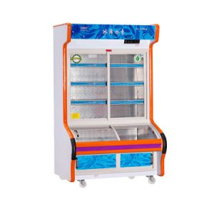 Double Temperature Sliding Glass Door Dish Oder Refrigerator