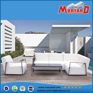 PU Leather Outdoor Furniture Modern White Leather Garden Sofa pictures & photos