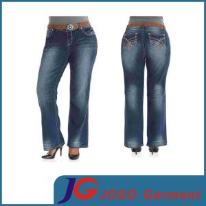 Plus Size Straight Jeans Fat Women Trousers (JC1371) pictures & photos