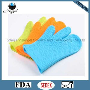 Wholesale Three Fingered Silicone Rubber Glove for Cooking Sg11