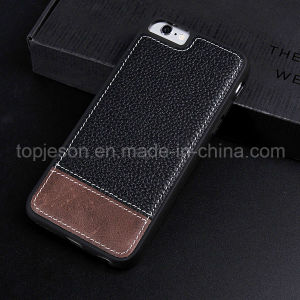 Black with Brown Genuine Leather Case for iPhone 6 Plus pictures & photos