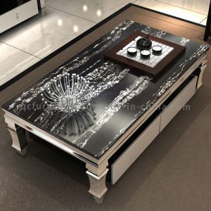 Popular Modern Black Marble Coffee Table with Drawers pictures & photos