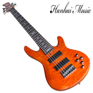 Hanhai Music/6 Strings Orange Electric Bass with Chrome Hardware pictures & photos