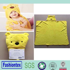 Super Soft Coral Fleecebear Pattern Baby Hooded Towel pictures & photos