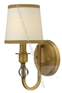 Antique Brass Iron Metal Wall Lamp Light with Fabric Shade (C002-1W)