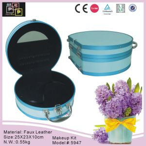 Round Cosmetic Box Packaging with Leather Handle (6000) pictures & photos