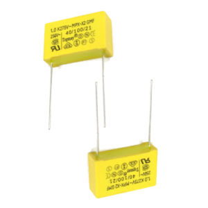 Shenzhen Topmay Manufacture Yellow 0.22UF 275VAC X2 Metallized Polypropylene Film Capacitor pictures & photos