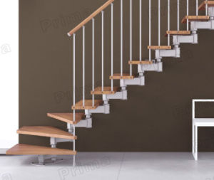 Indoor Solid Wood Staircase with Wood Handrail pictures & photos