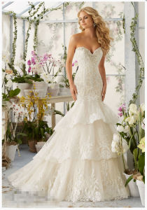 2016 Layered Lace Beaded Bridal Wedding Gowns 2810 pictures & photos