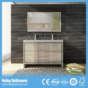 Hot Selling Clean Cut Floor Mounted Solid Wood Bathroom Furniture (BV219W)
