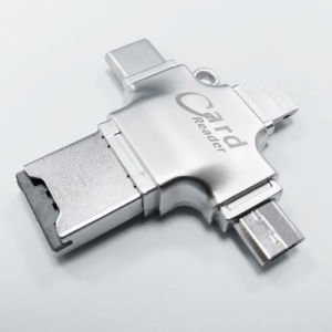 4 in 1 Metal OTG Microsd Card Reader USB Pendrive for iPhone Android PC (YT-R010) pictures & photos