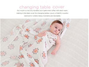 New Printing, Cotton Muslin Swaddle Blanket Wrap in 120X120cm/120X100cm pictures & photos