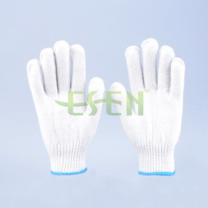 10 Gauge Natural White Cotton Knitted Working Gloves with Lines on The Cuff pictures & photos