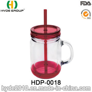350ml BPA Free Plastic Mason Jar, Double Wall Plastic Bottle with Handle (HDP-0018) pictures & photos