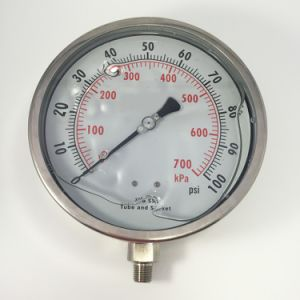 "048 Auto Parts 6"" All Stainless  Steel Liquid Filled Pressure Gauge pictures & photos"