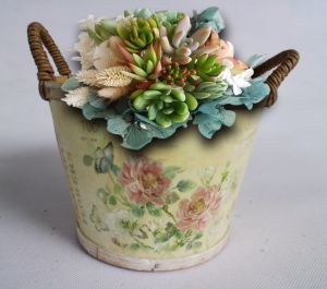 Unique Printing Flower Pot with Handle