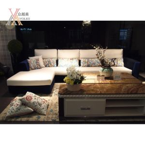 Blue and White Fabric Modern Sofa with Cushion (805B) pictures & photos