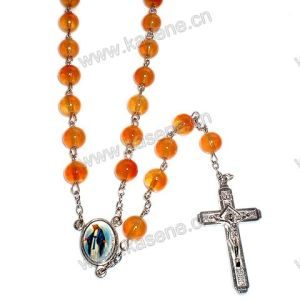 6mm Baking Varnished Red Color Glass Rosary, Religious Catholic Rosary, Pattern Bead Rosary pictures & photos