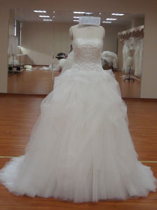 Beautiful Hig-Low Lace Organza Dress Wedding with Round Neckline pictures & photos