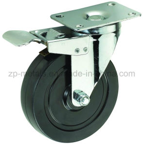 Medium-Duty Black Rubber with Brake Caster Wheel pictures & photos