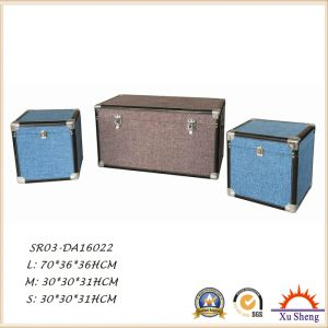 Decorative Fabric Linen Cloth Cover with Check Pattern Storage Wooden Trunk pictures & photos