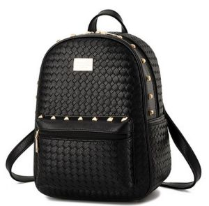 Teenager Girl School Backpack Knitting Leather Shoulder Bag