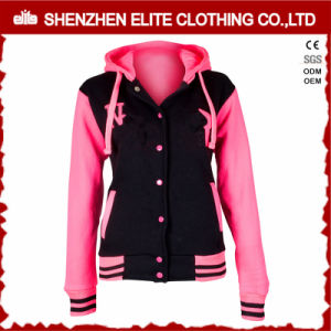 Custom Made Pink Pullover Baseball Jacket Hoodie for Women (ELTBQJ-540) pictures & photos