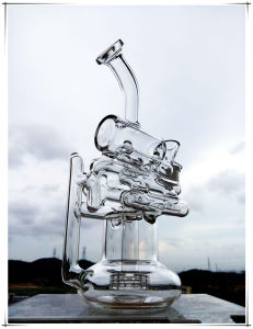 Recycler Perc Double Helical Ladder Shape Glass Smoking Water Pipe pictures & photos