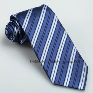 Fashion Wholesale Woven Striped Men′s Silk Necktie (HWN03) pictures & photos