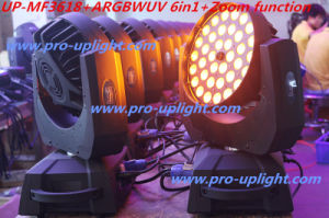 Stage Lighting 36*18W RGBWA UV 6in1 Wash LED Moving Head pictures & photos