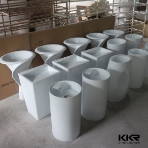 Kkr Wholesale Shiny Black Stone Resin Pedestal Wash Basin (B1706062) pictures & photos