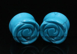 Shineme Jewelry Rose Quartz Carved Flower Piercing Stone Plug pictures & photos