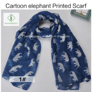 100% Viscose Cartoon Elephant Printed Shawl Fashion Lady Scarf pictures & photos