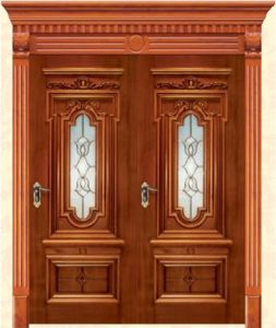 American Entrance Solid Wood Door with Complicated Flower Craftsmanship pictures & photos