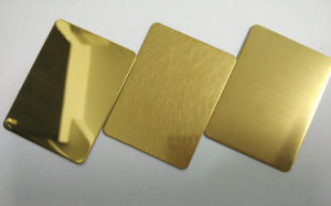 304 Hairline Gold Color Stainless Steel Plate for Metal Wall pictures & photos