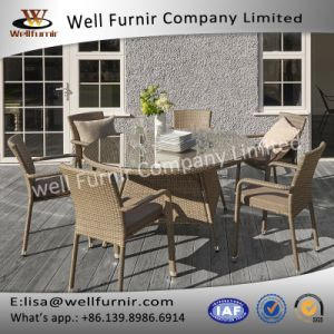 Well Furnir Patio 6 Arm Seater Round Rattan Dining Set with Cushion pictures & photos
