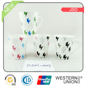 V-Shape Color Glazed Coffee Mug in New Bone pictures & photos