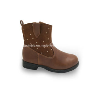 Casual Leather Buckle-Strap Middle Heels Lady Boots Shoes pictures & photos