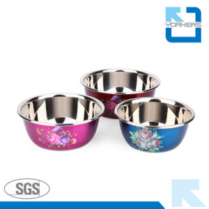 Flower Printing Style Stainless Steel Mixing Bowls/Salad Bowls/Soup Bowls pictures & photos