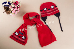Cashmere Children Knitted Hat and Scarf with Intarsia pictures & photos